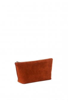 Cosmetic Pouch S, Suede Rust