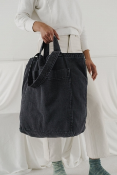Giant Pocket Tote, Washed Blk