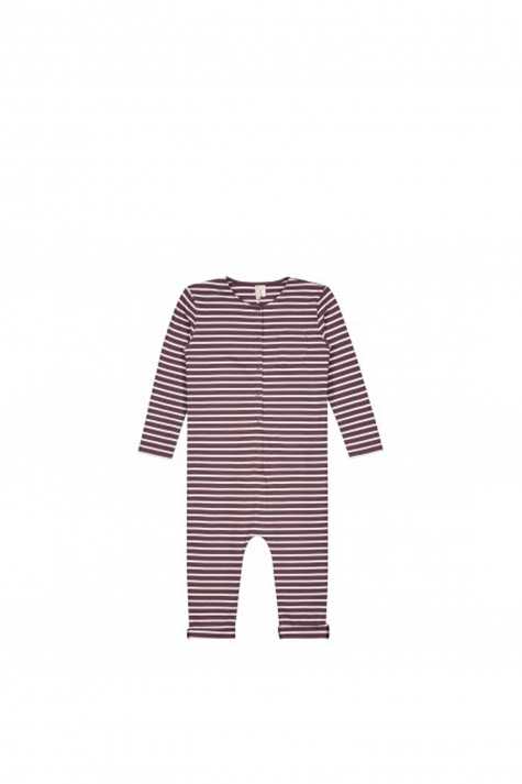 Playsuit, Plum/White Stripes